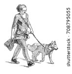 a city woman walks with her dog | Shutterstock . vector #708795055