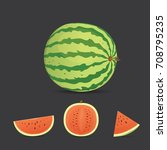 fresh and juicy red watermelon... | Shutterstock .eps vector #708795235