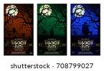 halloween party invitation card ... | Shutterstock .eps vector #708799027
