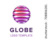 abstract sphere with lines logo ... | Shutterstock .eps vector #708806281