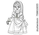 cute girl in princess costume... | Shutterstock .eps vector #708810055