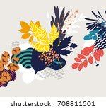 autumn abstract floral... | Shutterstock .eps vector #708811501