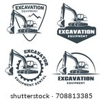 set of excavator logos  emblems ... | Shutterstock . vector #708813385