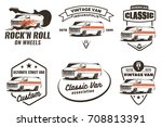 set of retro custom van car... | Shutterstock . vector #708813391