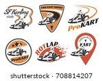 set of kart racing emblems ... | Shutterstock . vector #708814207