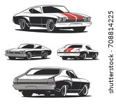 set of muscle car templates for ... | Shutterstock . vector #708814225