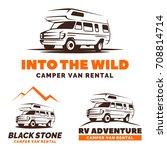 camper van car logo  emblems... | Shutterstock . vector #708814714