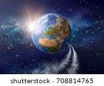 spaceships landing on planet... | Shutterstock . vector #708814765