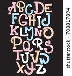 hand drawn trendy font. custom...   Shutterstock .eps vector #708817894