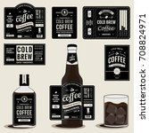 collection of cold brew coffee... | Shutterstock .eps vector #708824971