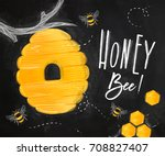 poster illustrated beehive ... | Shutterstock .eps vector #708827407