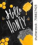 poster illustrated honey spoon  ... | Shutterstock .eps vector #708827425