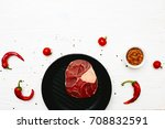 raw meat shank with chili... | Shutterstock . vector #708832591