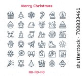 merry christmas line icons set... | Shutterstock . vector #708833461