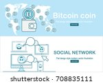 online bitcoin payment concept... | Shutterstock .eps vector #708835111
