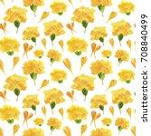marigold flowers and petals.... | Shutterstock . vector #708840499