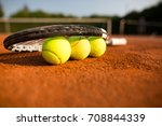 close up view of tennis racket... | Shutterstock . vector #708844339