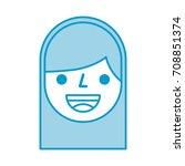 cartoon face girl smile avatar... | Shutterstock .eps vector #708851374