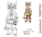 cute boy in viking costume with ... | Shutterstock .eps vector #708857041