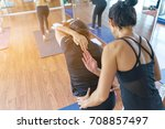 group women asian doing... | Shutterstock . vector #708857497