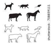 Domestic Farm Animals Vector...