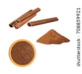 cinnamon sticks and ground... | Shutterstock .eps vector #708859921