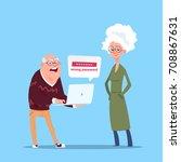 couple senior people using... | Shutterstock .eps vector #708867631