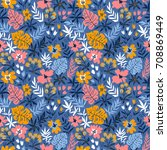seamless pattern with wild... | Shutterstock .eps vector #708869449