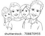 vector   4 persone happy famlly ... | Shutterstock .eps vector #708870955