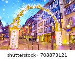 entrance gate with illumination ... | Shutterstock . vector #708873121
