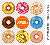 set of realistic donuts with... | Shutterstock .eps vector #708873781