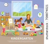 kindergarten flat composition... | Shutterstock .eps vector #708874021