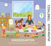 kindergarten flat composition... | Shutterstock .eps vector #708874021