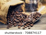roasted coffee beans with... | Shutterstock . vector #708874117