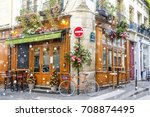 bicycle is parked at typical... | Shutterstock . vector #708874495