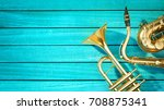 saxophone and trumpet are... | Shutterstock . vector #708875341