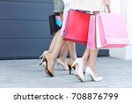 happy group of friends shopping ... | Shutterstock . vector #708876799