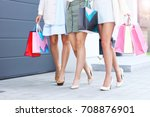 happy group of friends shopping ... | Shutterstock . vector #708876901