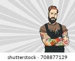 tattooed hipster barber man....