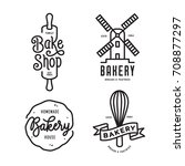 bakery emblems set. handmade... | Shutterstock .eps vector #708877297
