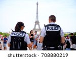 unknown french police officers... | Shutterstock . vector #708880219