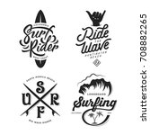 surfing related typography set. ... | Shutterstock .eps vector #708882265