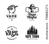 vape shop labels emblems badges ... | Shutterstock .eps vector #708882271