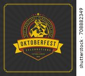 oktoberfest greeting card or... | Shutterstock .eps vector #708882349