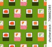 sushi rolls  seamless...   Shutterstock .eps vector #708882385