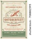 oktoberfest beer festival...   Shutterstock .eps vector #708882595