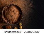 broken chocolate nuts pieces... | Shutterstock . vector #708890239