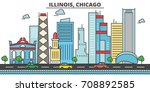 chicago city skyline ... | Shutterstock .eps vector #708892585