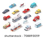 set of isometric public and... | Shutterstock .eps vector #708893059