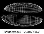 wireframe mesh hemisphere shell.... | Shutterstock .eps vector #708894169